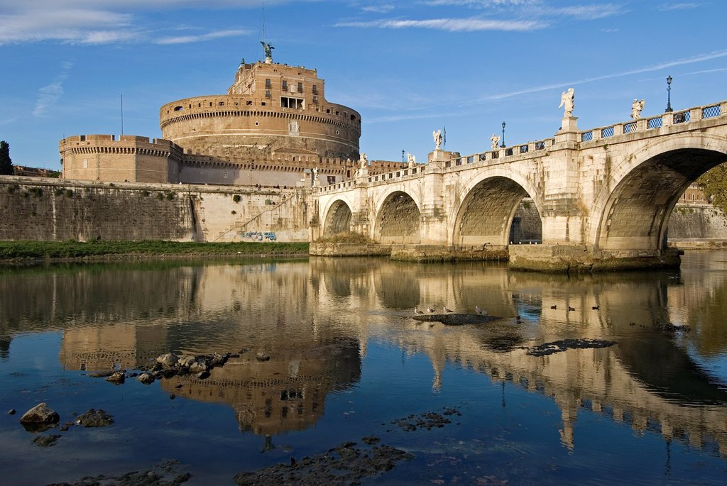 St  Angel Bridge and St  Angel Castle, Rome, Latium, Italy : Stock Photo