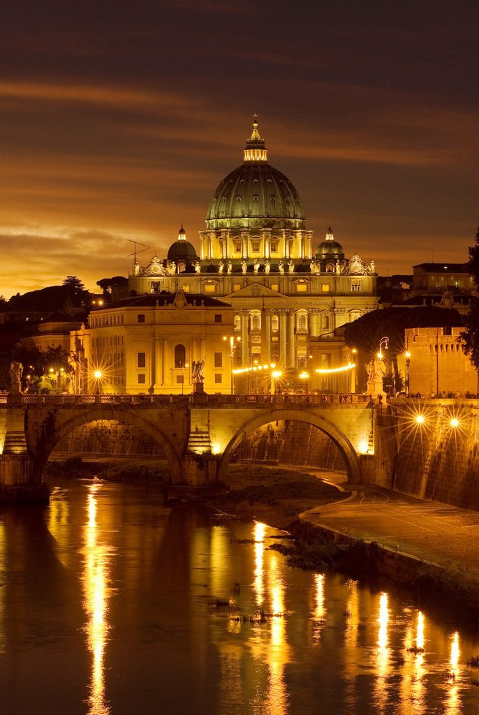 St  Angel Bridge and St  Peter Basilica in evening light, Rome, Latium, Italy : Stock Photo