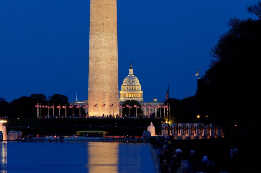 Twilight view of the Washington Monument, World War II Memorial and the US Capitol Building, Washington DC, USA : Stock Photo