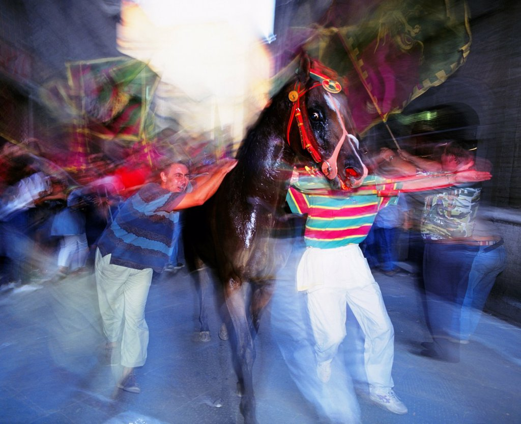 The victorious Dragon Drago Contrada escort their winning horse to the Duomo, The Palio, Siena, Tuscany, Italy : Stock Photo