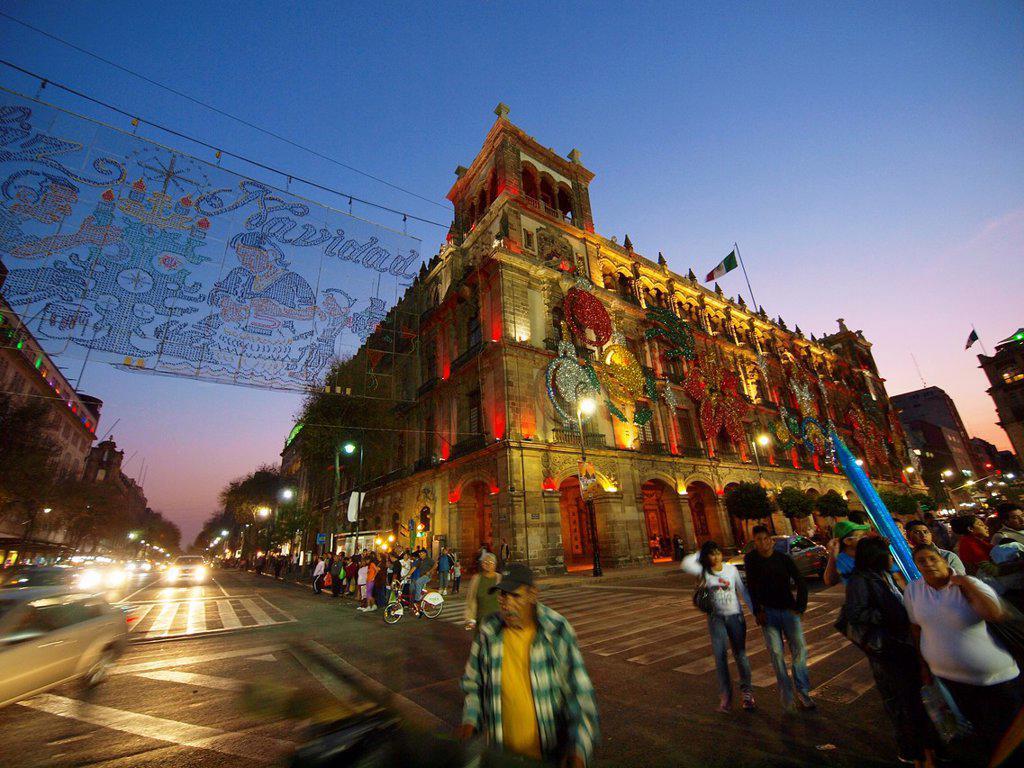 Stock Photo: 1566-968010 City Hall. Christmas time. Mexico City. Mexico.