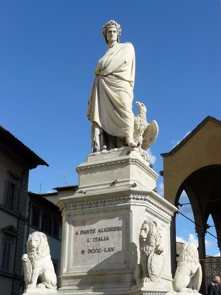 Stock Photo: 1566-968060 Florence Italy Sculpture of Dante next to the church Santa Croce in Florence
