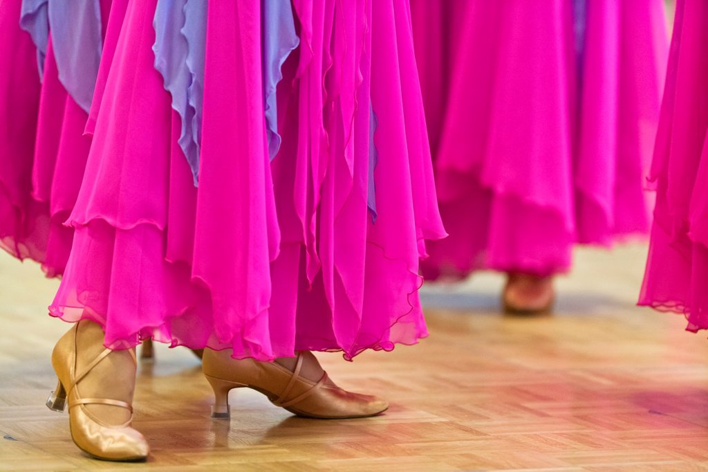 Pattern of female dancers at a dancing competition in Germany, Europe : Stock Photo