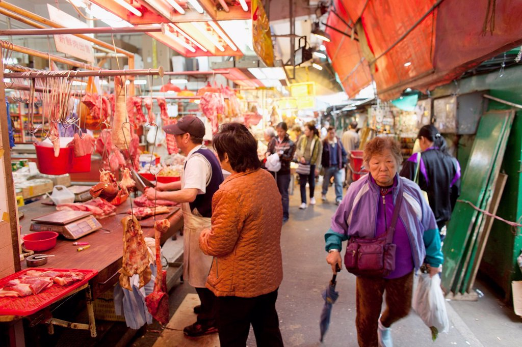 Stock Photo: 1566-968233 meat market in Hongkong, China