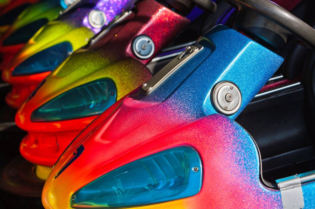 Close up of colorful bumper cars, Bremen, Germany, Europe : Stock Photo