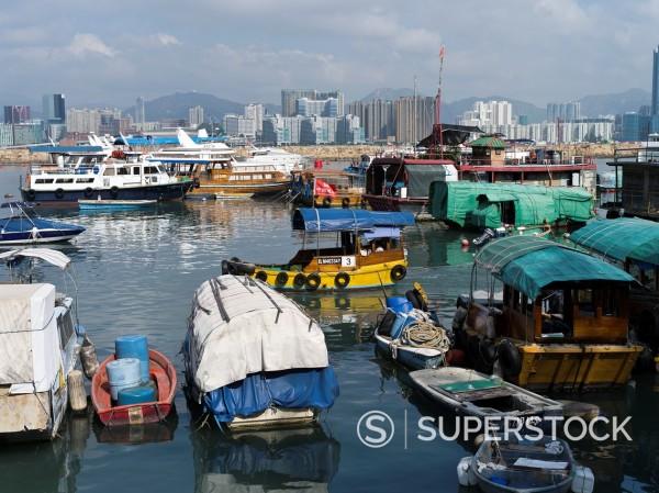Stock Photo: 1566-969061 CAUSEWAY BAY HONG KONG Junks in Causeway Bay Typhoon shelter anchorage