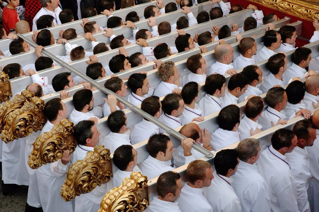 Stock Photo: 1566-969206 Holy Week  Brotherhood of the Sagrada Cena  Hombres de trono  Malaga  Spain