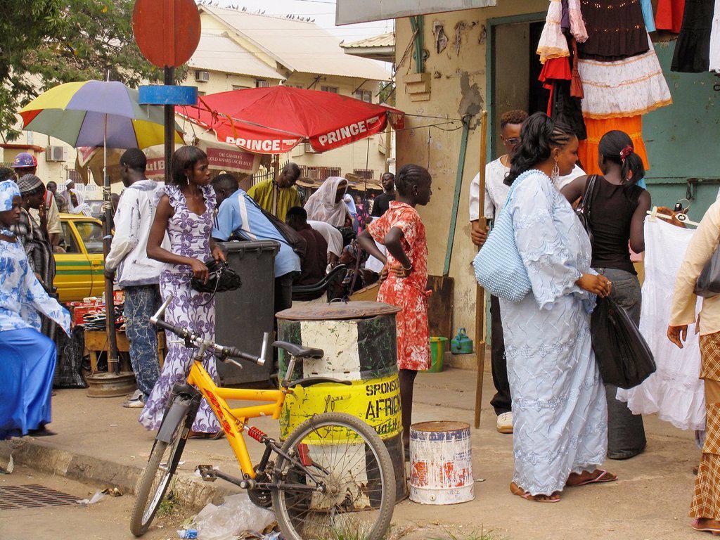 Street scene Banjul capital of The Gambia : Stock Photo