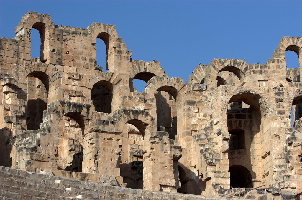 Roman Colosseum El Jem Tunisia finest Roman remains in Africa : Stock Photo
