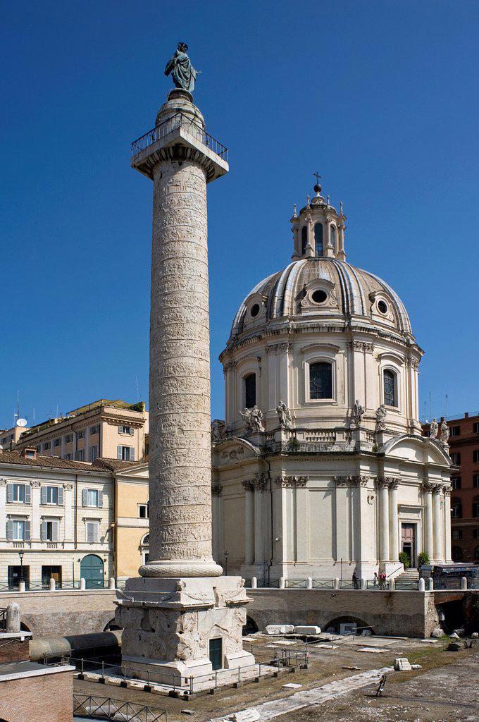 Trajan´s Column, Trajan´s Forum, Rome, Lazio, Italy : Stock Photo