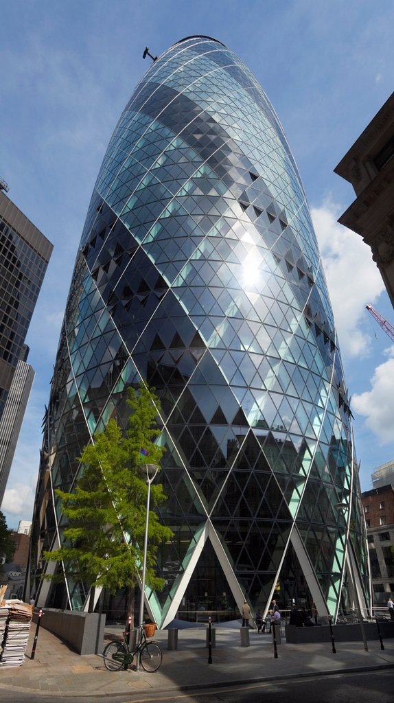 The Swiss Tower building in the city of London : Stock Photo