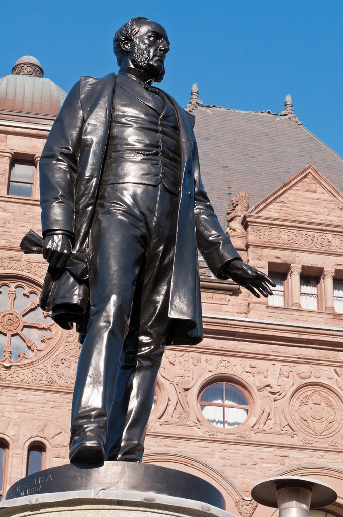 Stock Photo: 1566-970241 Statue of George Brown, Canadian journalist and politician, Legislative Assembly of Ontario, Toronto, Ontario, Canada