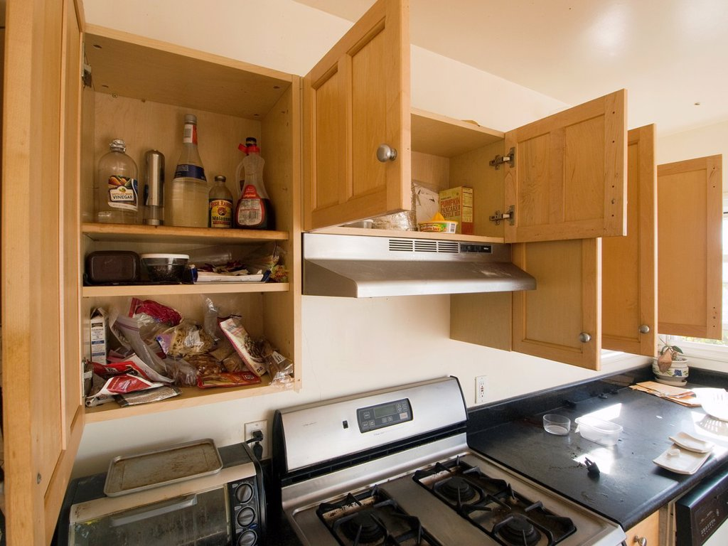 Stock Photo: 1566-970359 Some packaged foods and products remain in the cabinets of a kitchen inside a foreclosed home in Oakland, California, Uniited States