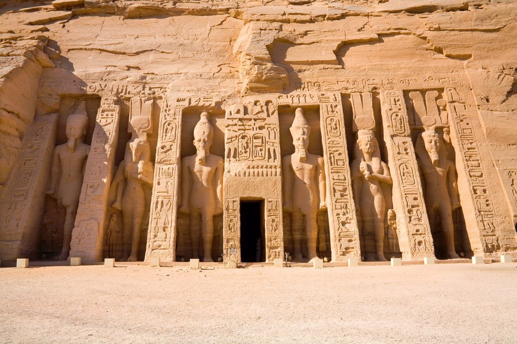The Archaeological site of the Temple of Hathor at Abu Simbel : Stock Photo