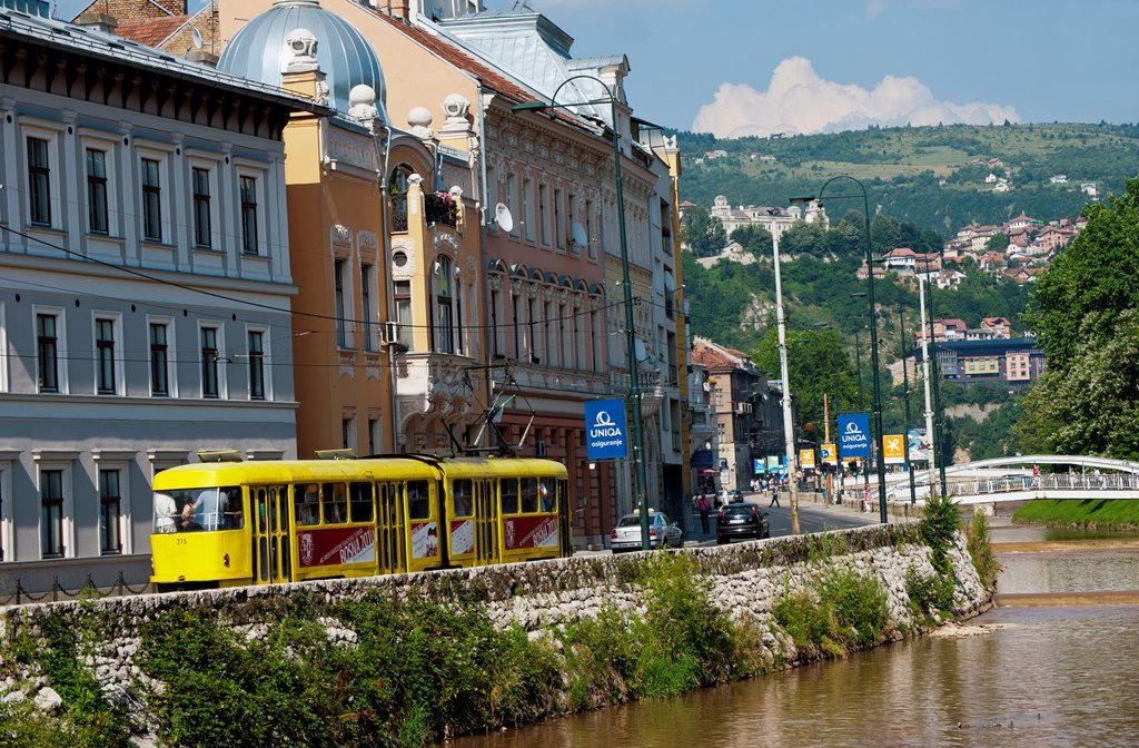 Stock Photo: 1566-970945 Tram along Obala Kulina Bana street and Miljacka river  Sarajevo Bosnia- Herzegovina  Balkans  Europe
