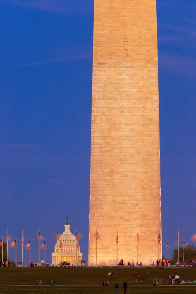 Twilight at the Washington Monument with the dome of the US Capitol Building beyond, Washington DC, USA : Stock Photo