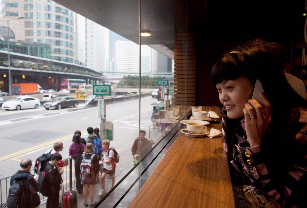 girl phoning in Hongkong : Stock Photo