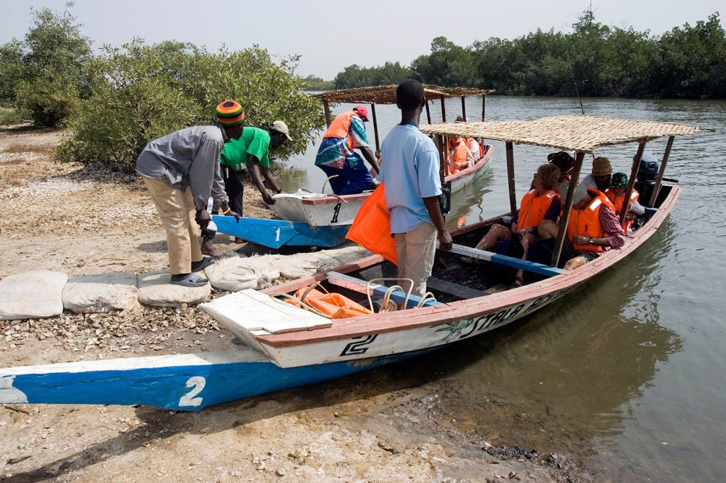Stock Photo: 1566-971658 Bird watchers take boat trip on Allahein River in south of The Gambia