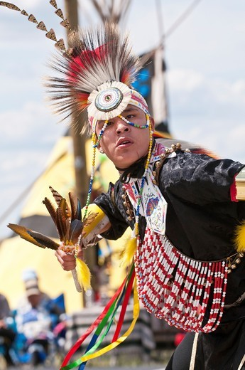 Young male dancer, 2nd Annual World Chicken Dance Championships, Blackfoot Crossing Historical Park, Alberta, Canada : Stock Photo