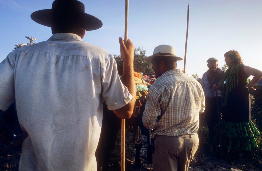 Stock Photo: 1566-972268 'Carreteros' pilgrims resting near Corral de Félix, Romeria del Rocio, pilgrims on their way through the Doñana National Park, pilgrimage of Sanlúcar de Barrameda brotherhood, to El Rocío, Almonte, Huelva province, Andalucia