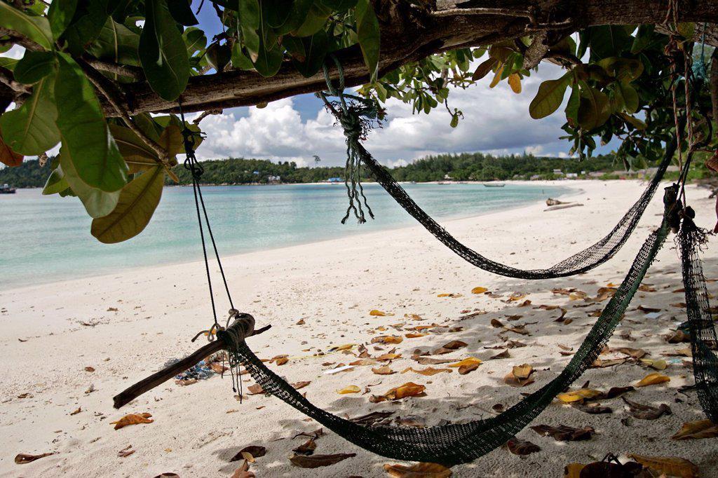 Large expanse of deserted white sand Pattaya Beach Ko Lipe island Thailand : Stock Photo