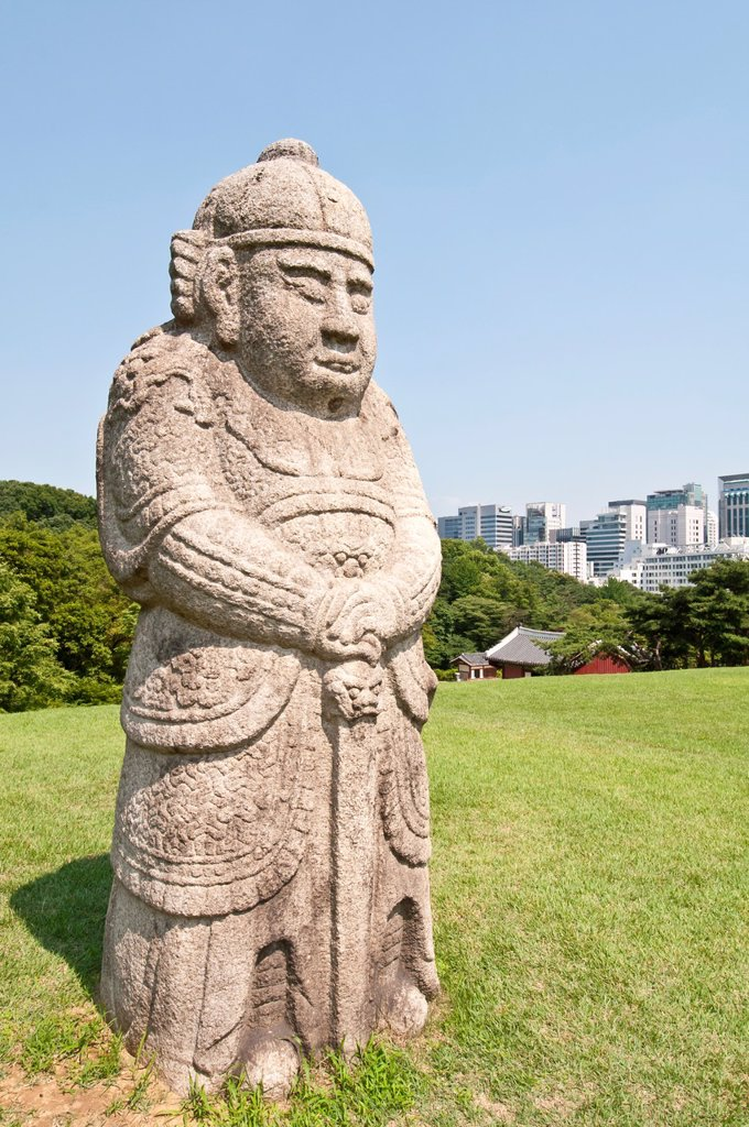 Statue at tomb of King Sejong the Great, Royal Tombs of the Joseon Dynasty, 1392-1910, Seolleung Park, Seoul, South Korea, : Stock Photo