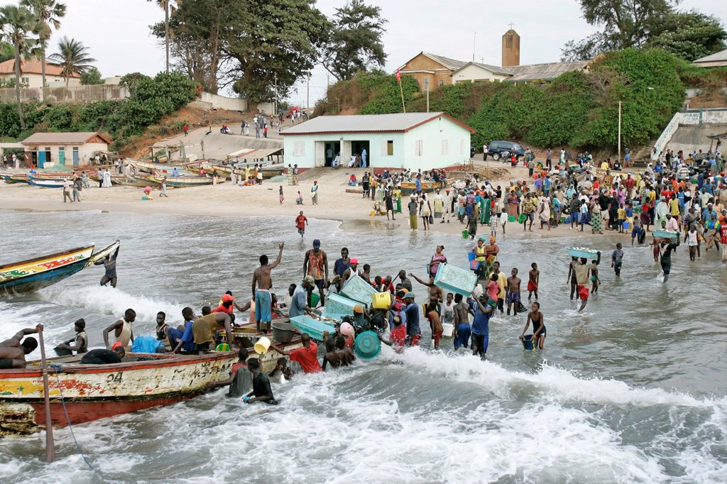 Stock Photo: 1566-973301 Young men wade in surf unloading fishing boat Bakau The Gambia