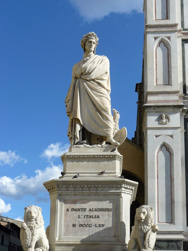 Florence Italy Sculpture of Dante next to the church Santa Croce in Florence : Stock Photo