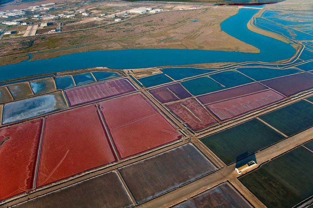 Stock Photo: 1566-973983 Aerial view of saltworks and Guadalete river  El Puerto de Santa María  Cádiz-province  Spain