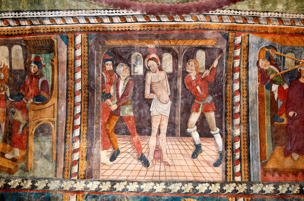 Flagellation of Christ Fresco Chapel of the White Penitents or Penitents Blancs La Tour Alpes-Maritimes France : Stock Photo