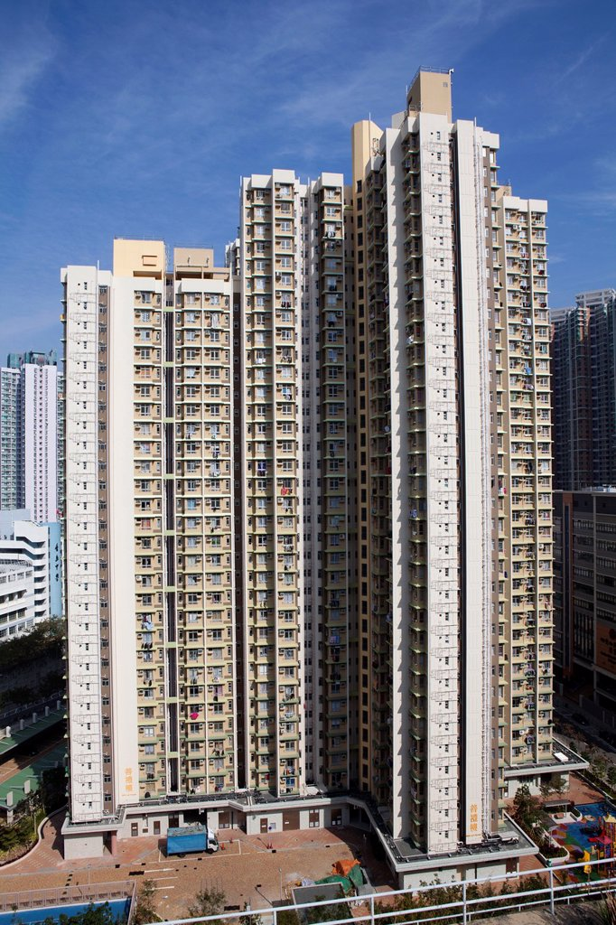 Stock Photo: 1566-974468 hirise buildings in Hongkong, China