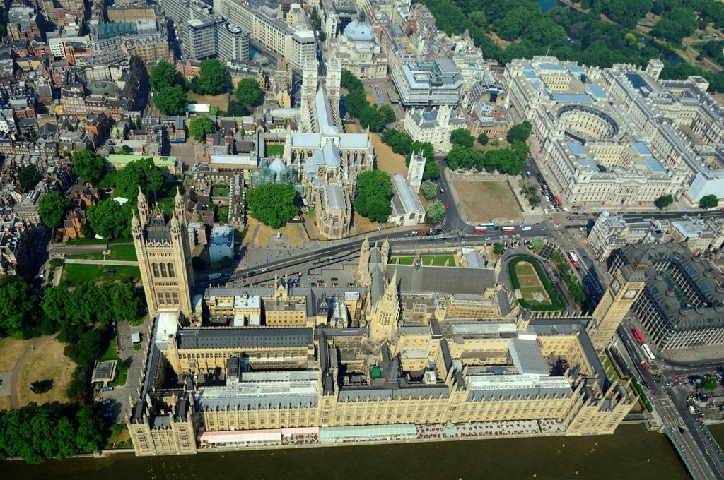 Aerial view of British parliament with House of Lords, Palace of Westminster , Westminster abbey, and Big Ben tower, London city : Stock Photo