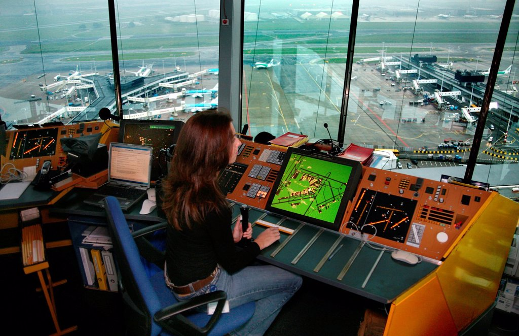 Stock Photo: 1566-975665 Schiphol airport seen from the control tower editorial use only, no negative publicity
