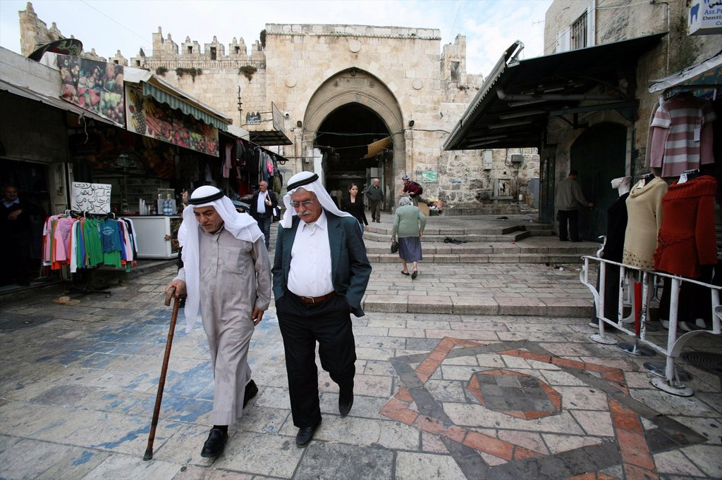 Scenes around the Damascus gate in the old city of Jerusalem : Stock Photo