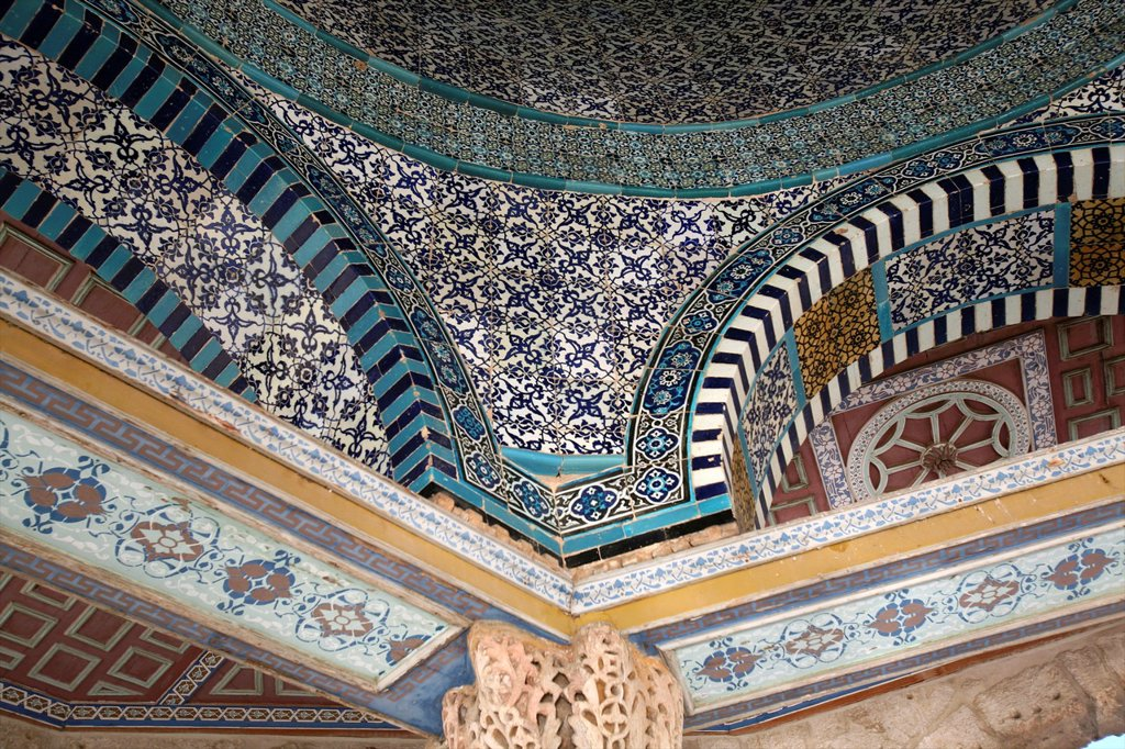 Stock Photo: 1566-975724 The mosaic interior cupola of the Dome of the Rock on Temple Mount in the Old City of Jerusalem