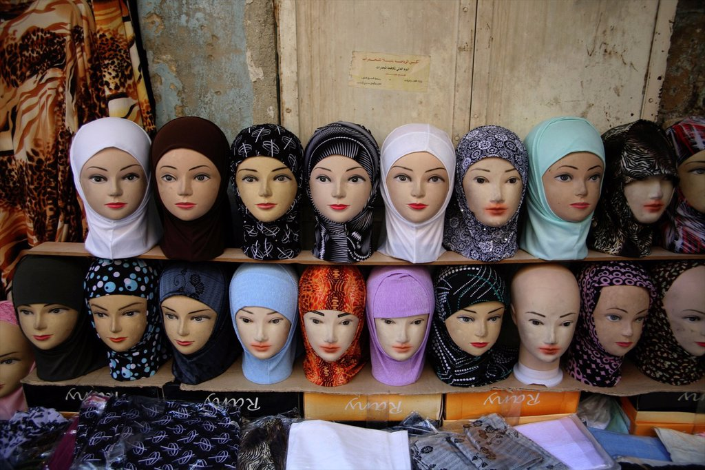 Stock Photo: 1566-975732 Headscarves for sale at a market in the old city of Jerusalem