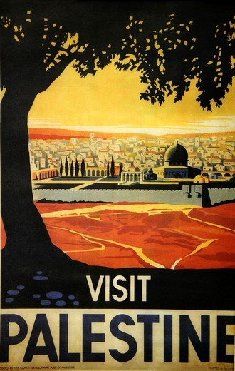 Poster promoting tourism in Palestine : Stock Photo