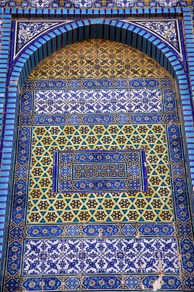 Stock Photo: 1566-975864 Closeup of the mosaic exterior of the Dome of the Rock on Temple Mount in the Old City of Jerusalem