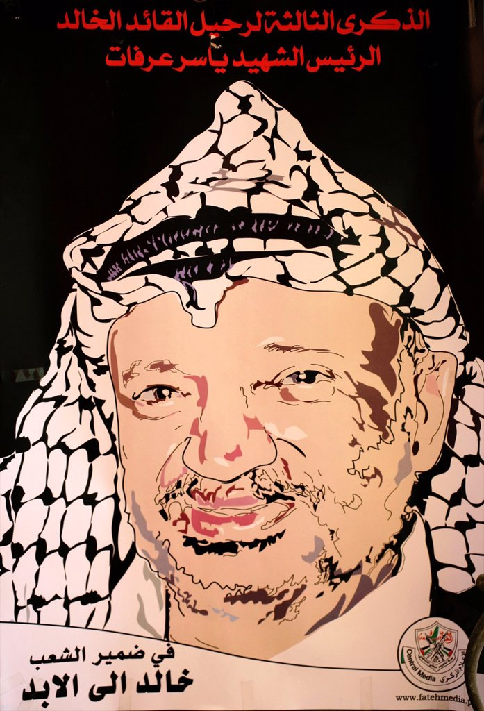 Stock Photo: 1566-975873 A poster of Yasser Arafat at a market in the old city of Jerusalem