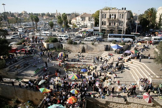 An open air market near the Damascus gate in the old city of Jerusalem : Stock Photo