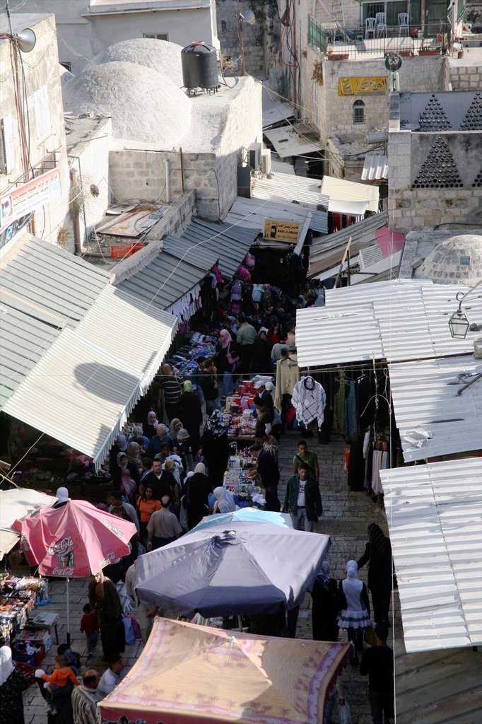 Stock Photo: 1566-976102 An open air market near the Damascus gate in the old city of Jerusalem