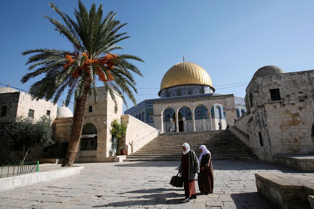 Stock Photo: 1566-976105 Women walking near the Dome of the Rock on Temple Mount in the Old City of Jerusalem Stairs lead up to the Temple Mount