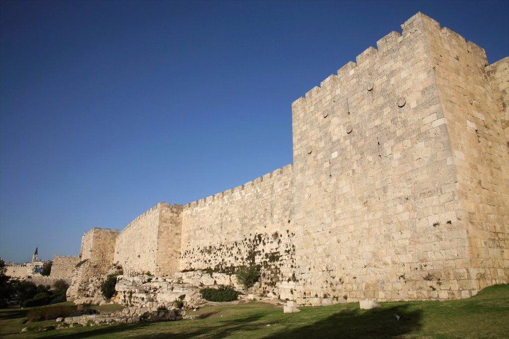Jaffa Gate in the old city of Jerusalem : Stock Photo