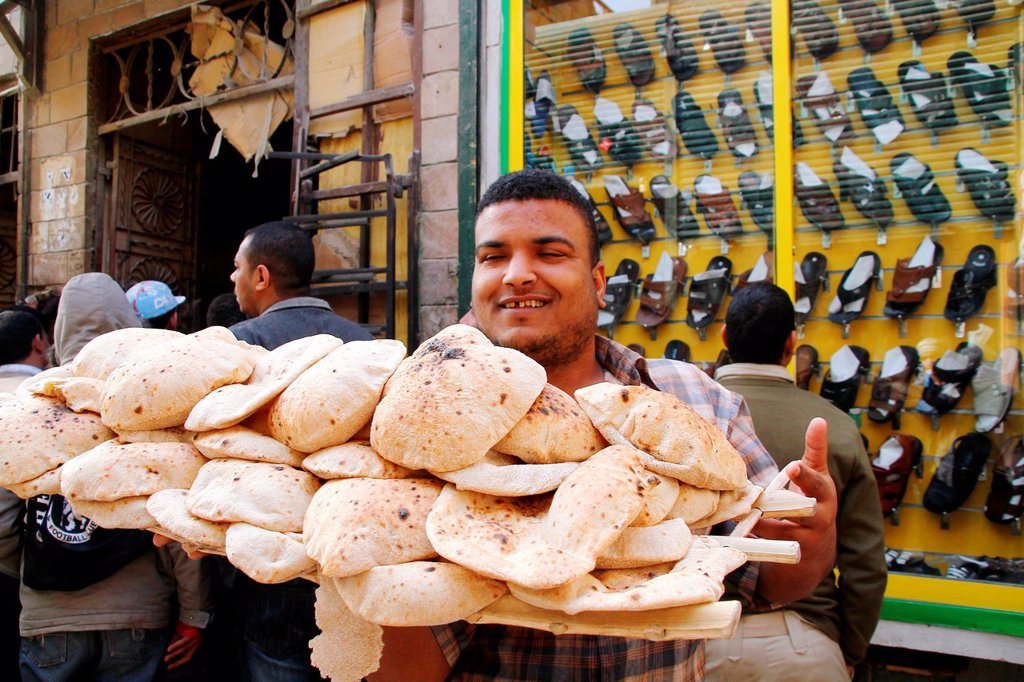 Stock Photo: 1566-976126 Fresh baked pita bread , egyptian