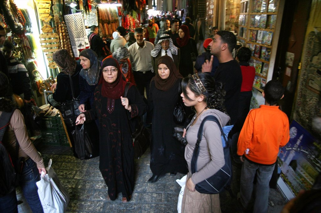 Stock Photo: 1566-976353 A market crowded with shoppers in the old city section of Jerusalem