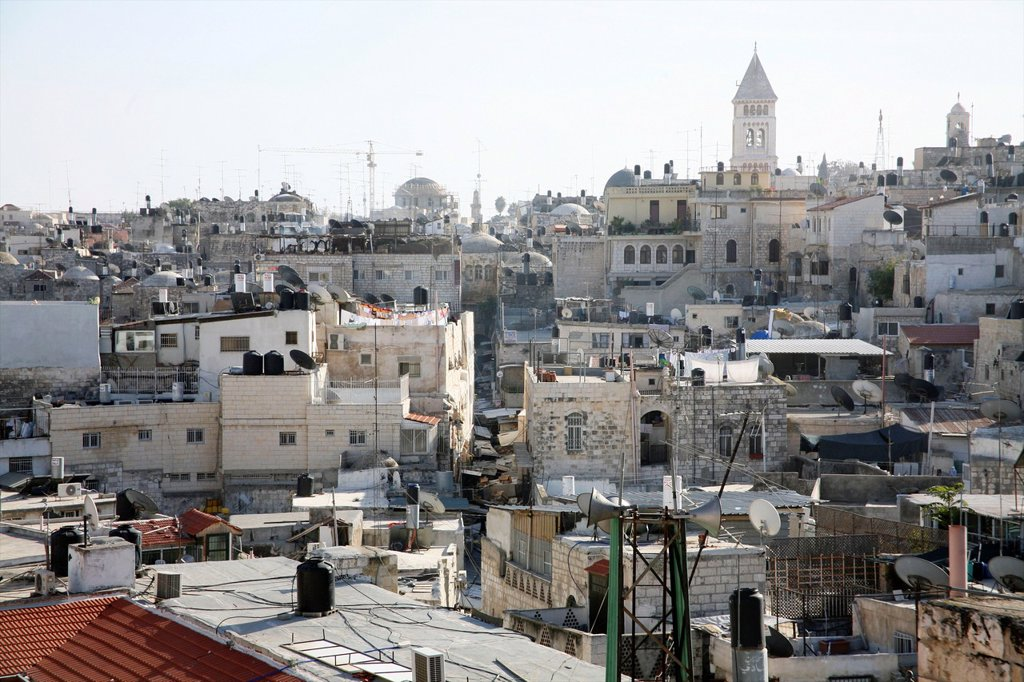 Urban skyline full of chimneys and communications equipment in the old city section of Jerusalem : Stock Photo