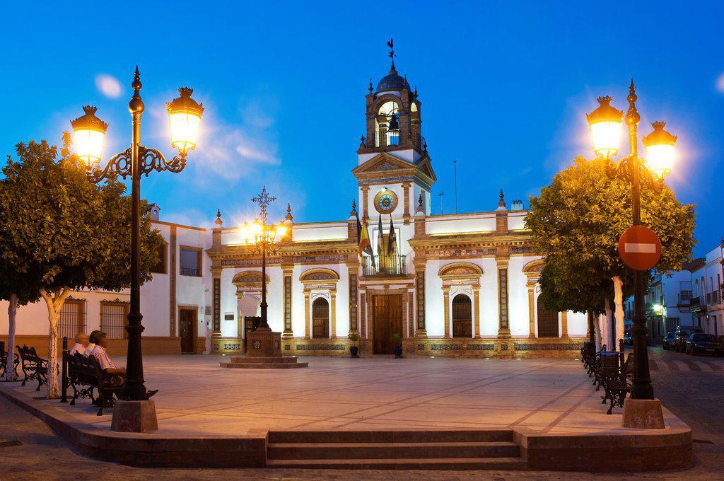 Stock Photo: 1566-976849 City Hall and square  Chucena  Huelva-province  Spain