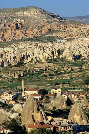 Turkey, Cappadocia, Göreme village, aerial view : Stock Photo