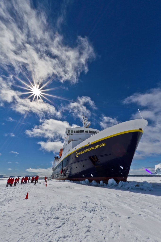Stock Photo: 1566-977177 The Lindblad Expedition ship National Geographic Explorer on expedition in Antarctica