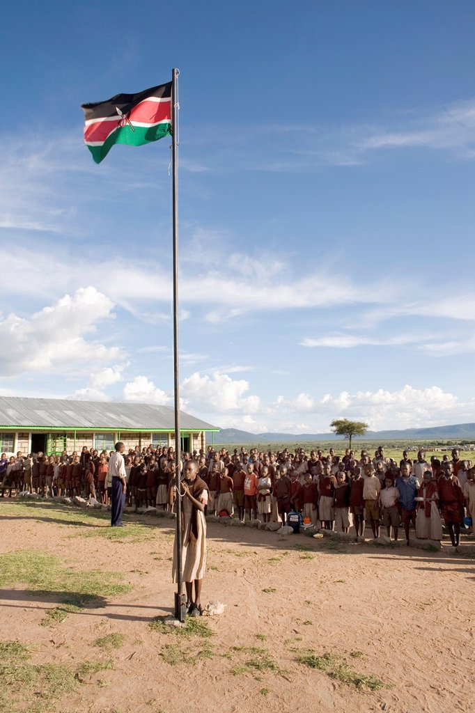Stock Photo: 1566-977453 Primary school in Kenya  Most of the students are froma nearby village inhabtited by people of the the Massai tribe  Many kids go to school but many do not as they have to herd the catlle  very few continue education after primary school